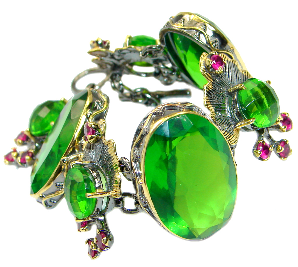 Victorian Style Created Emerald Ruby Gold Rhodium plated over .925 Sterling Silver Bracelet
