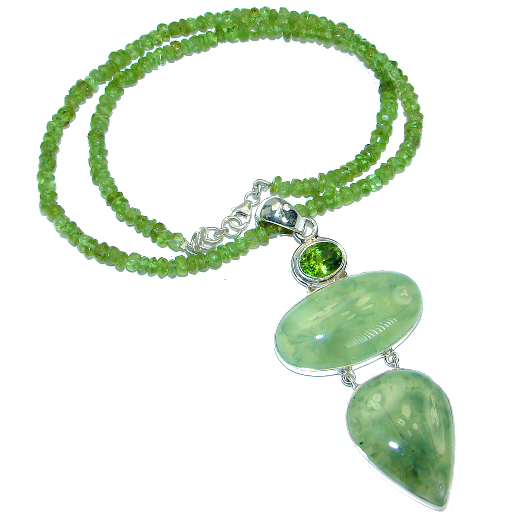 Sublime Genuine Moss Prehnite Peridot Beads .925 Sterling Silver handmade Necklace