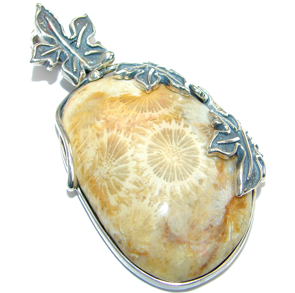 Genuin  Red Fossilized Coral .925 Sterling Silver handmade pendant