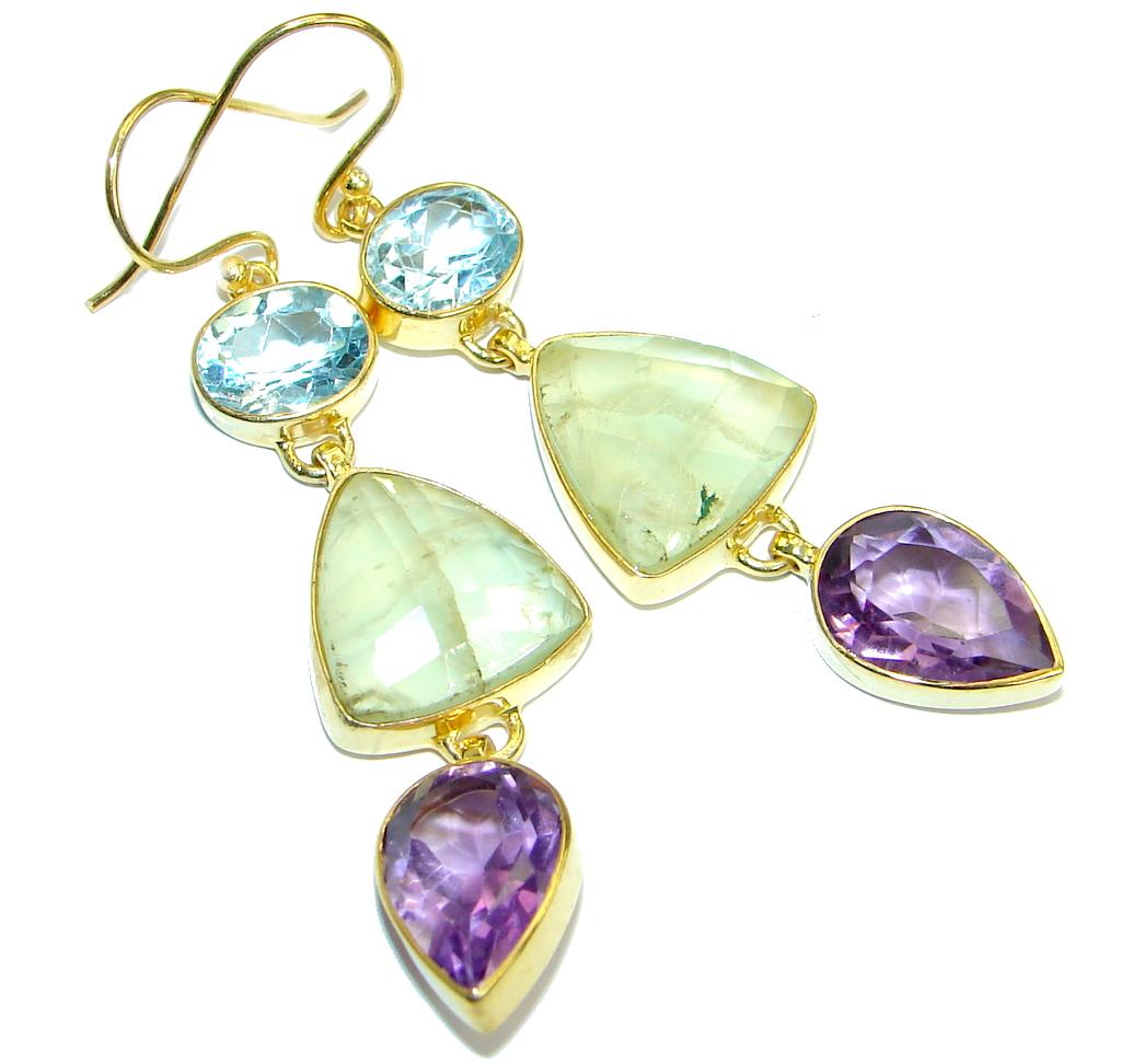 Moss Prehnite   Gold  plated over .925  Sterling Silver handmade earrings