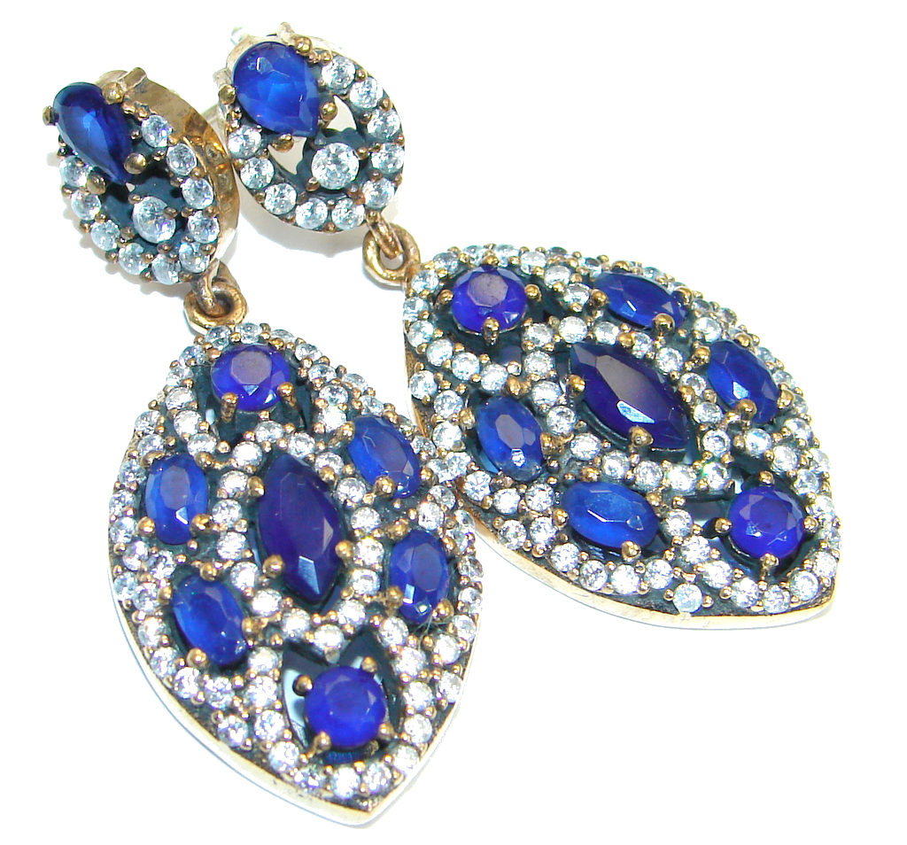 Victorian Style created Sapphire Sterling Silver stud earrings