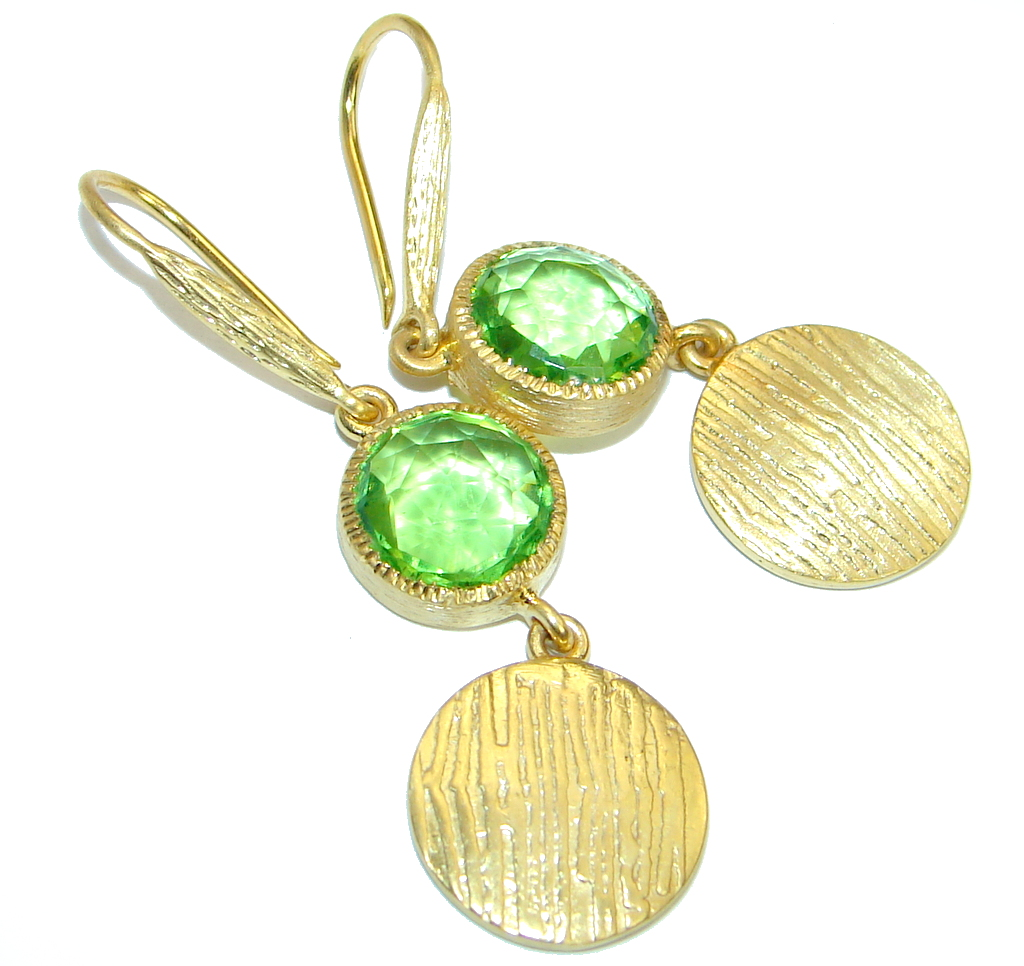 Genuine Peridot Gold plated over .925 Sterling Silver handamde earrings