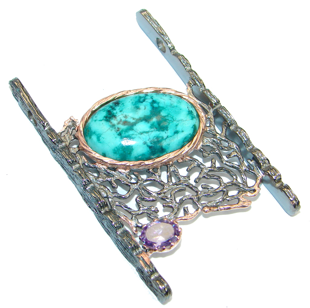 Genuine great quality Blue Turquoise Rose Gold plated over .925 Sterling Silver handmade Pendant