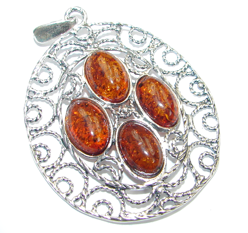 Genuine  Baltic Polish Amber  Sterling Silver handcrafted pendant