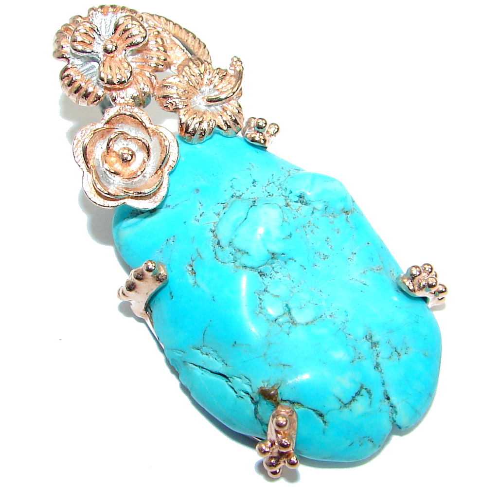 Genuine  great quality  Blue Turquoise  Rose Gold plated over .925 Sterling ..