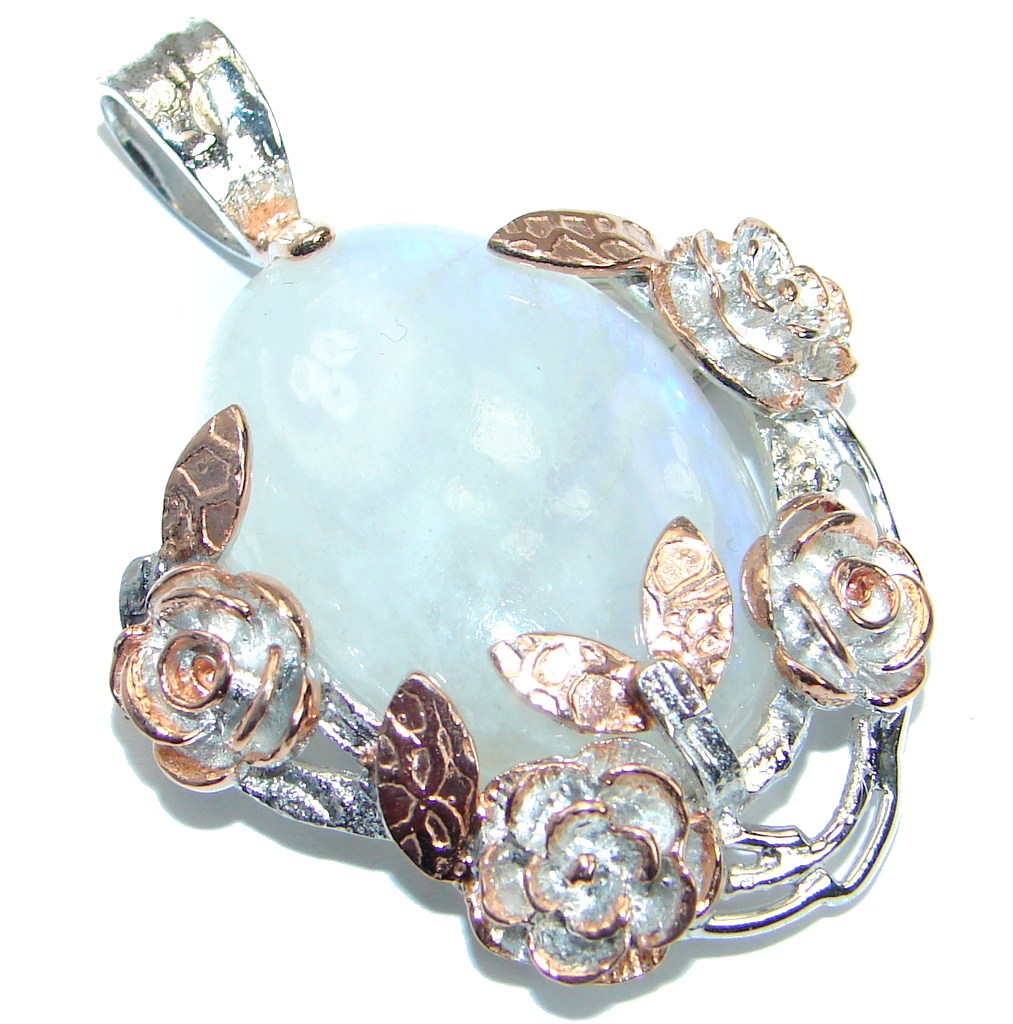 Floral Design Fire Moonstone Rose Gold plated over .925 Sterling Silver handmade Pendant