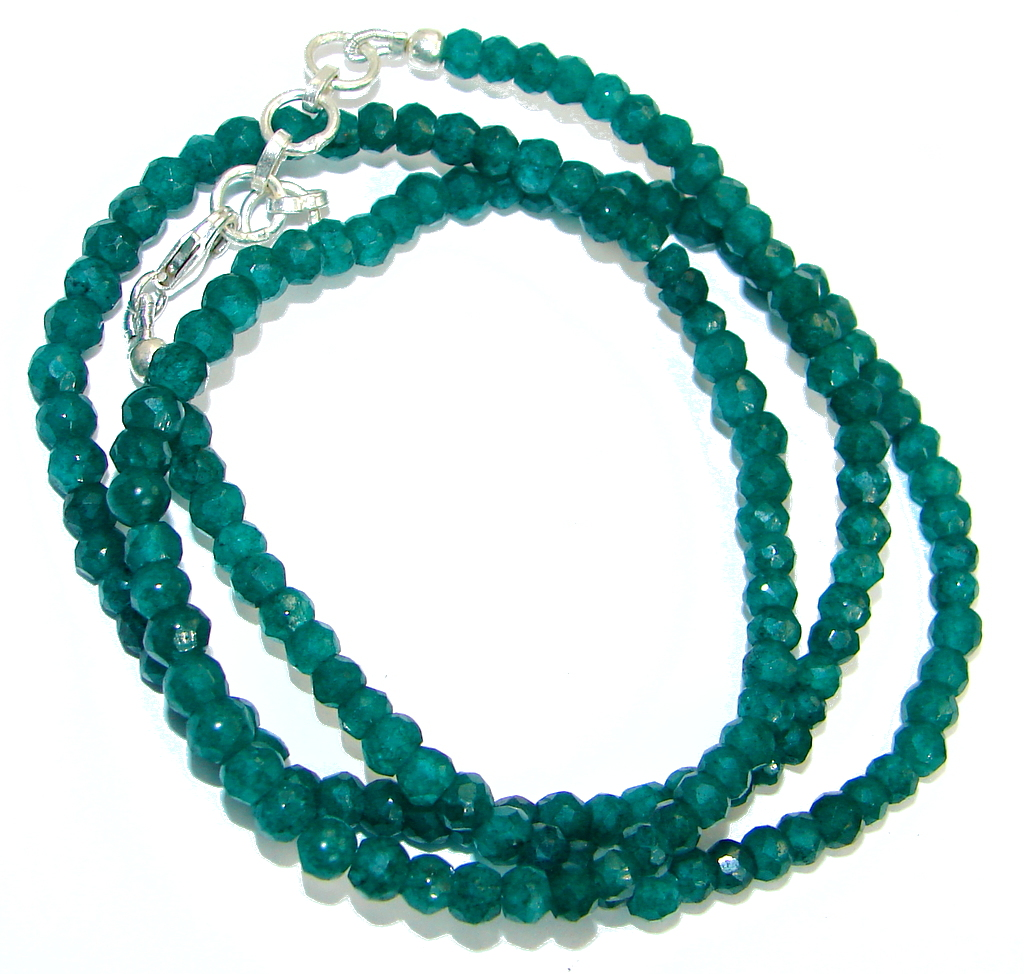 Simple genuine Agate Strand Necklace .925 Sterling Silver 18 inches necklace