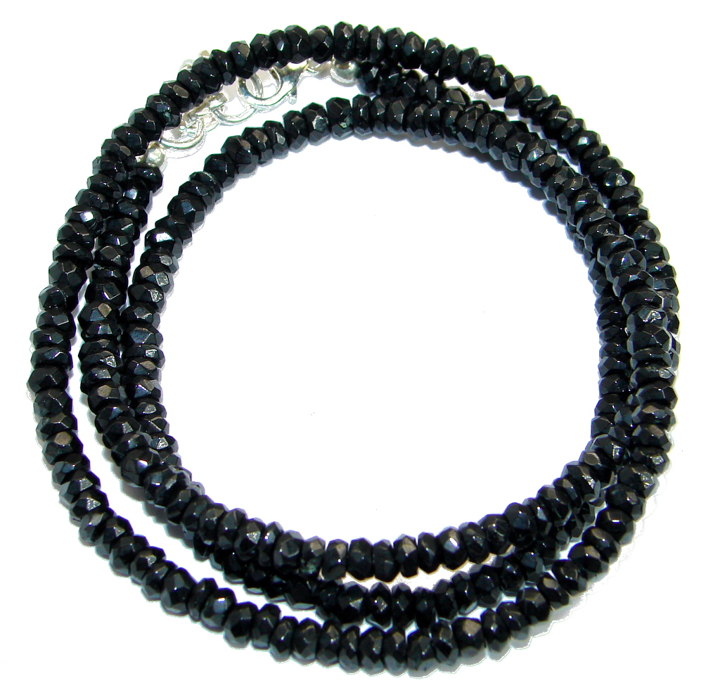 Simple genuine Onyx Beads Strand Necklace .925 Sterling Silver 18 inches necklace