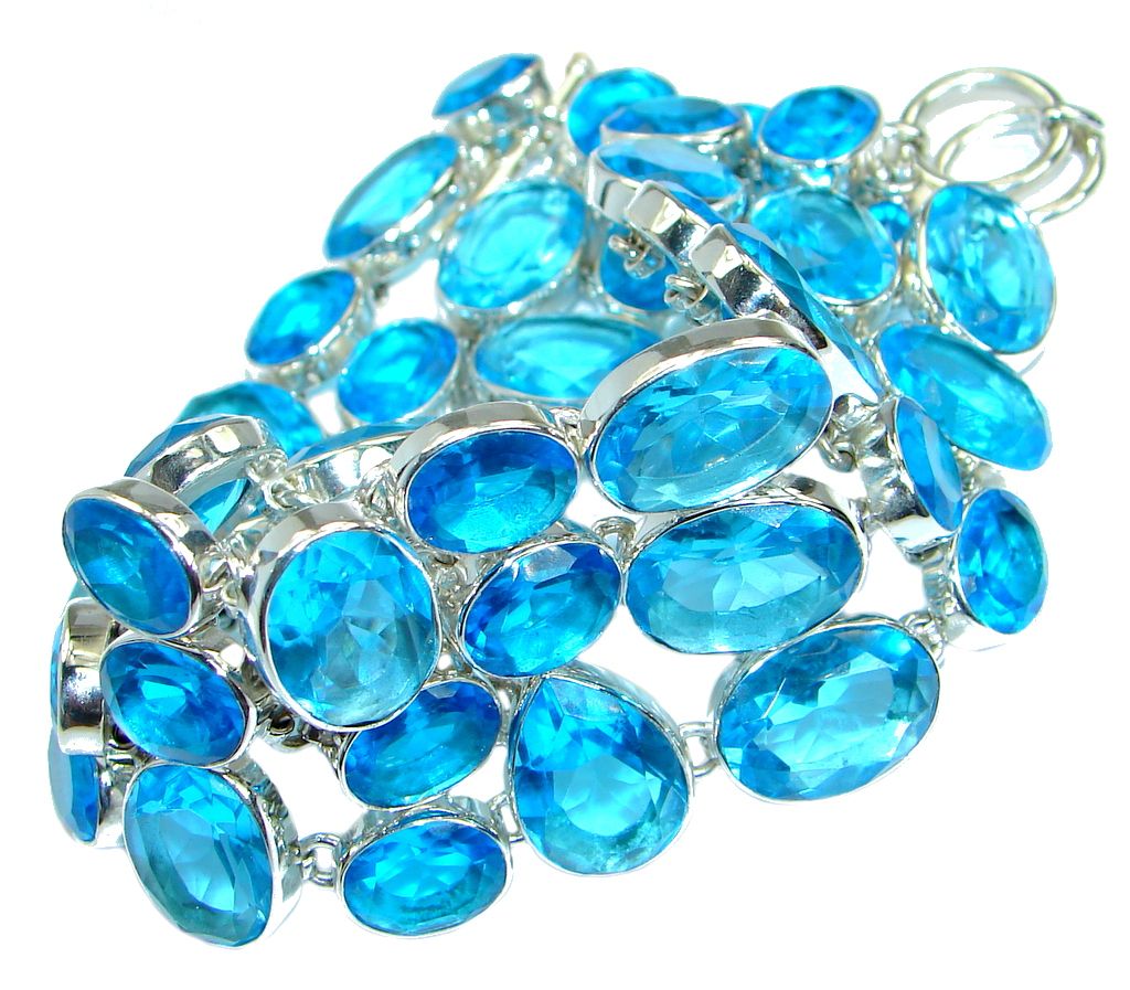 Endless Ocean Solid lab. Swiss Blue Topaz Sterling Silver handmade Bracelet