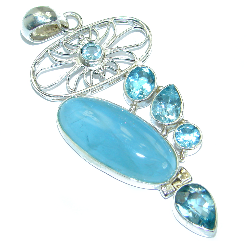 Large  Genuine  Aquamarine Swiss Blue Topaz Sterling Silver handmade Pendant
