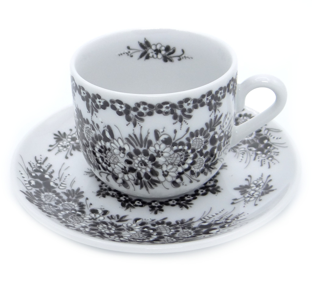 Entirely Hand painted Porcelain Espresso Cup and Saucer Black Flower Collection