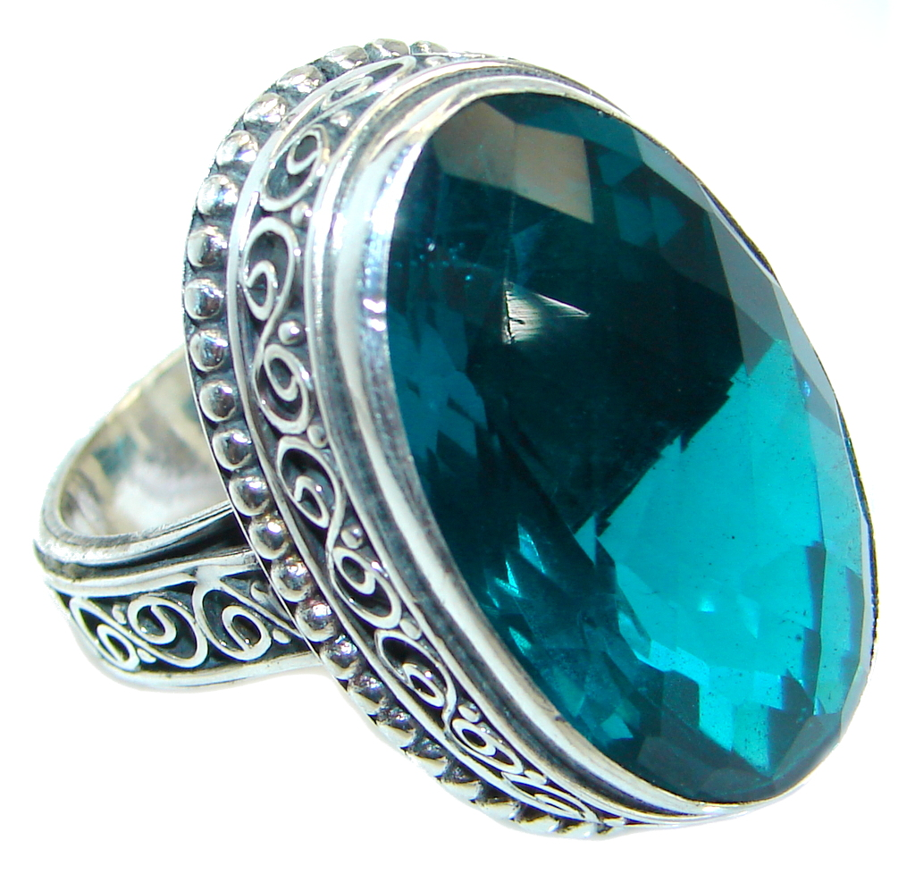 Big Energazing created Emerald .925 Sterling Silver Ring size 7