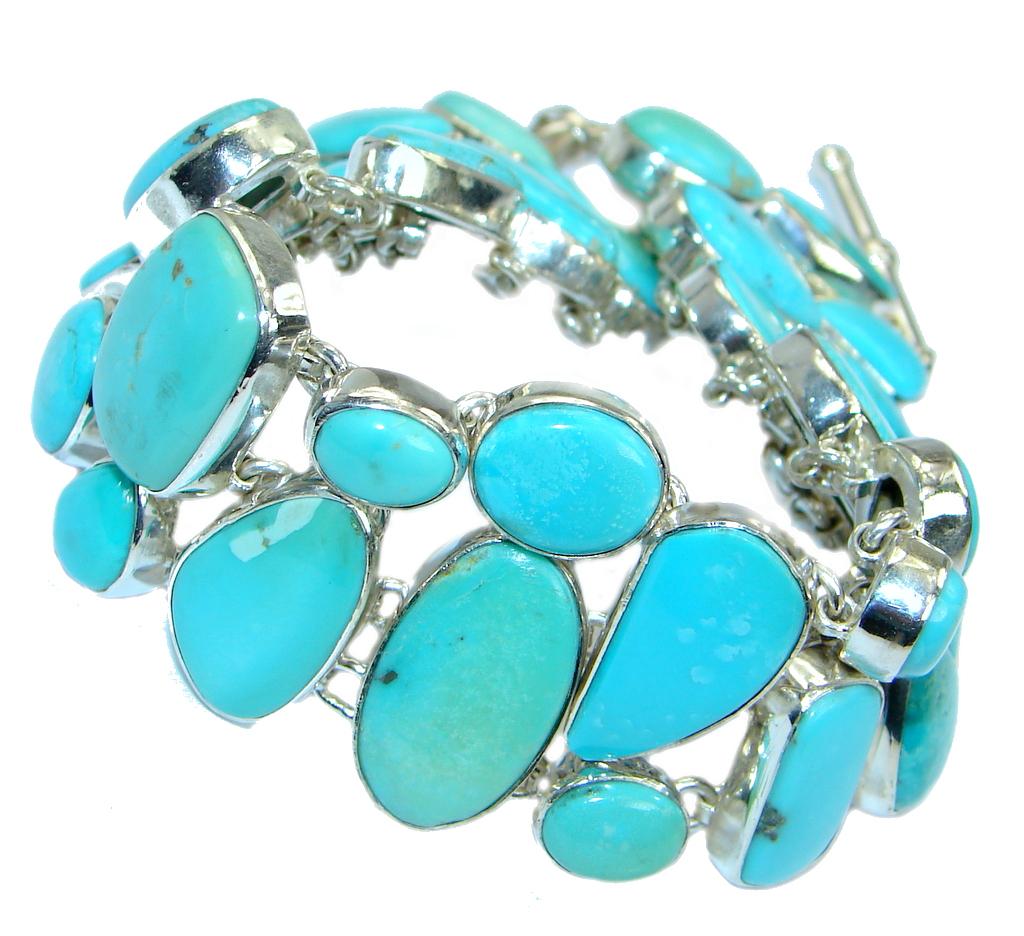 Large Sleeping Beauty Turquoise .925 Sterling Silver handmade Bracelet