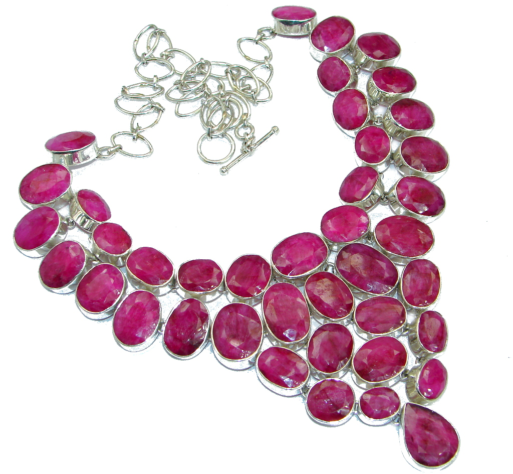 Jumbo Kashmire Treasure natural Ruby .925 Sterling Silver handmade necklace