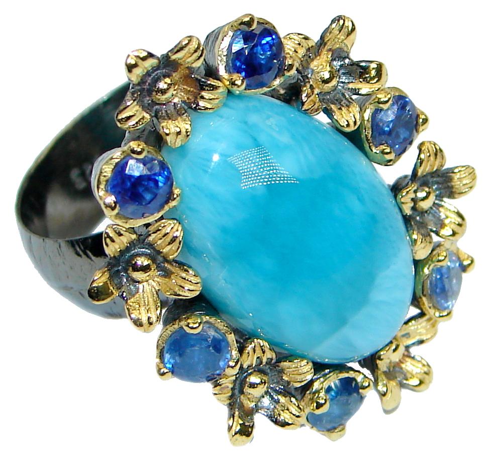 Posh Floral Design genuine Larimar Kyanite Gold plated over .925 Sterling Silver Ring s. 8 adjustable