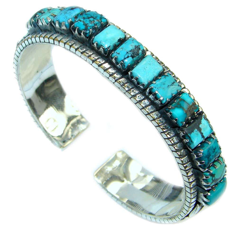 Jumbo Boho Chic Genuine Turquoise .925 Sterling Silver handmade Bracelet / Cuff