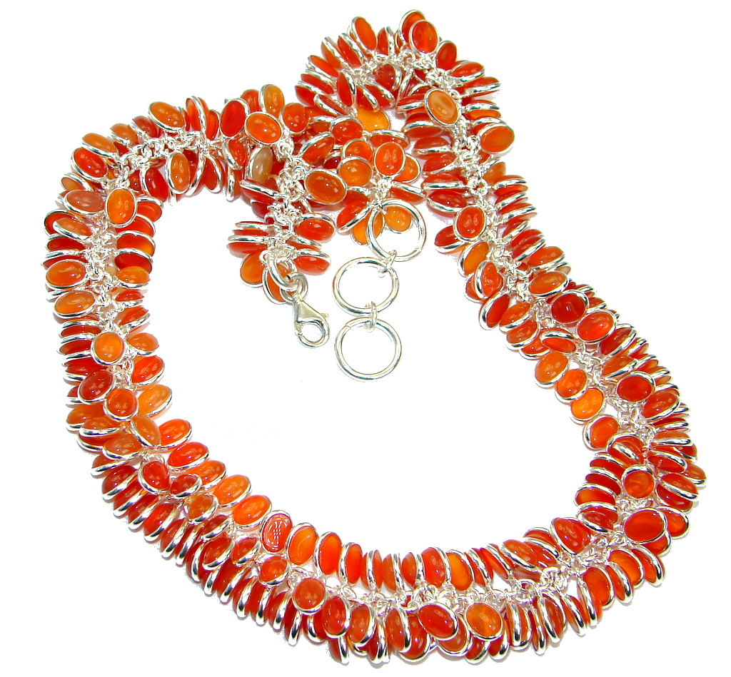 Aura Of Beauty Genuine Carnelian Agate Sterling Silver handmade necklace