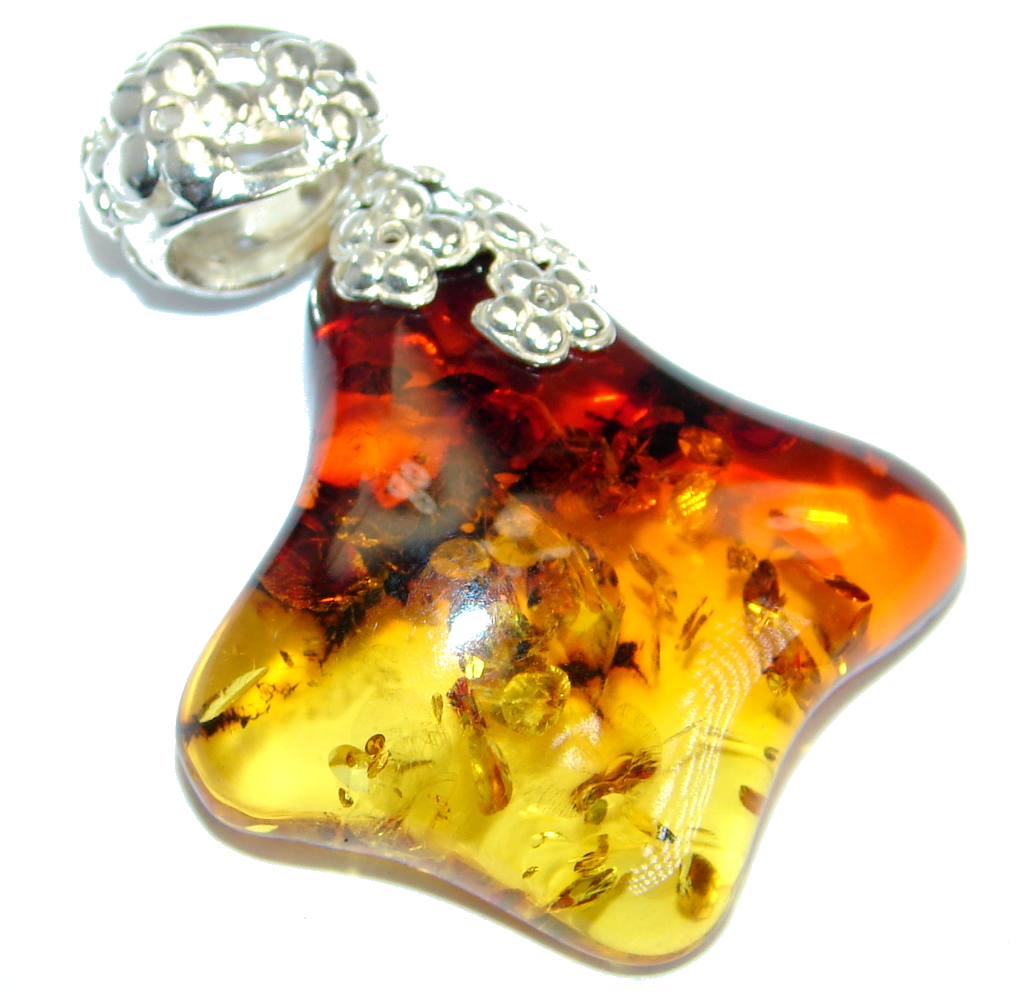 Great Design  natural Cognac  Baltic Amber Sterling Silver handmade Pendant