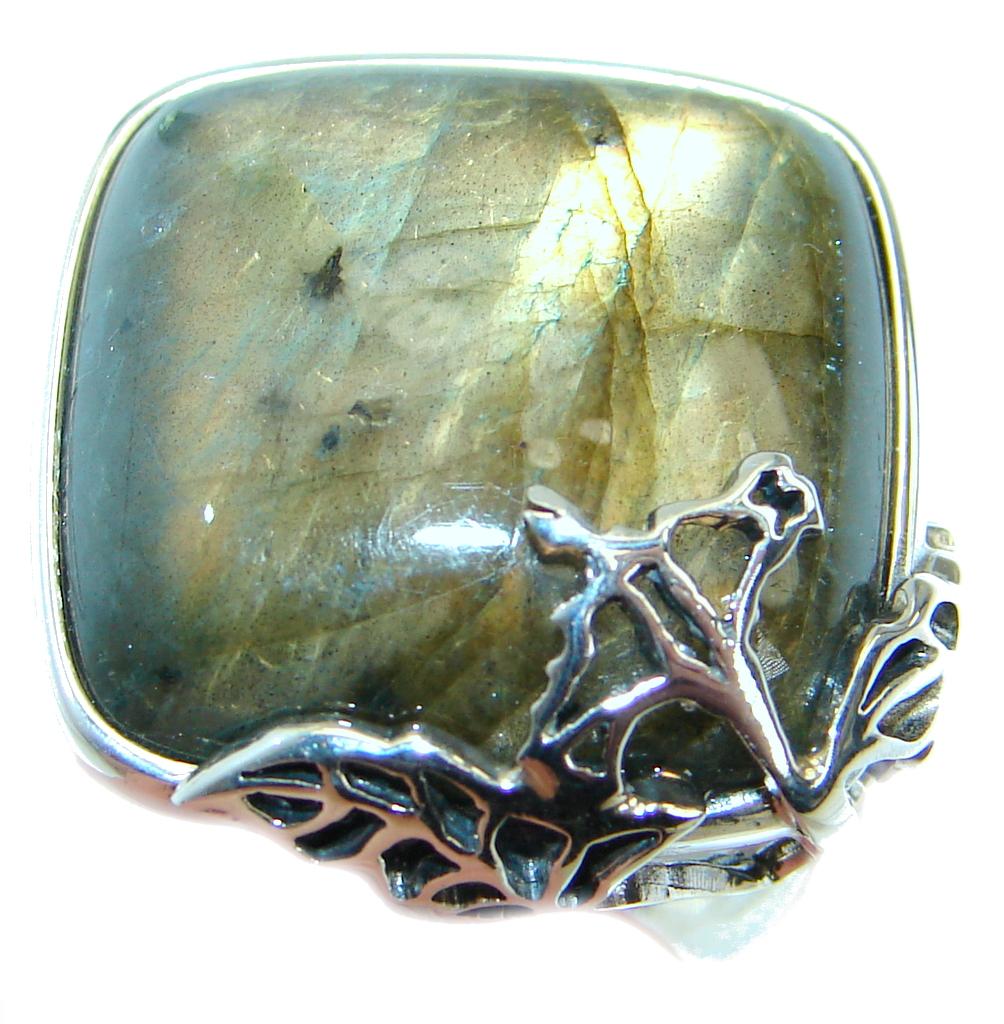 Blue Fire Labradorite .925 Sterling Silver handmade ring size 7 1/2