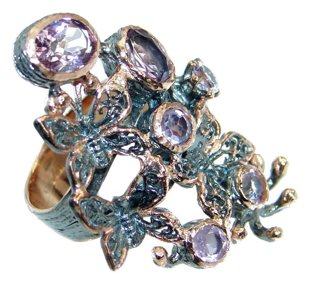 Amazing genuine Pink  Amethyst Rose Gold plated over .925 Sterling Silver Ring size 6 1/4