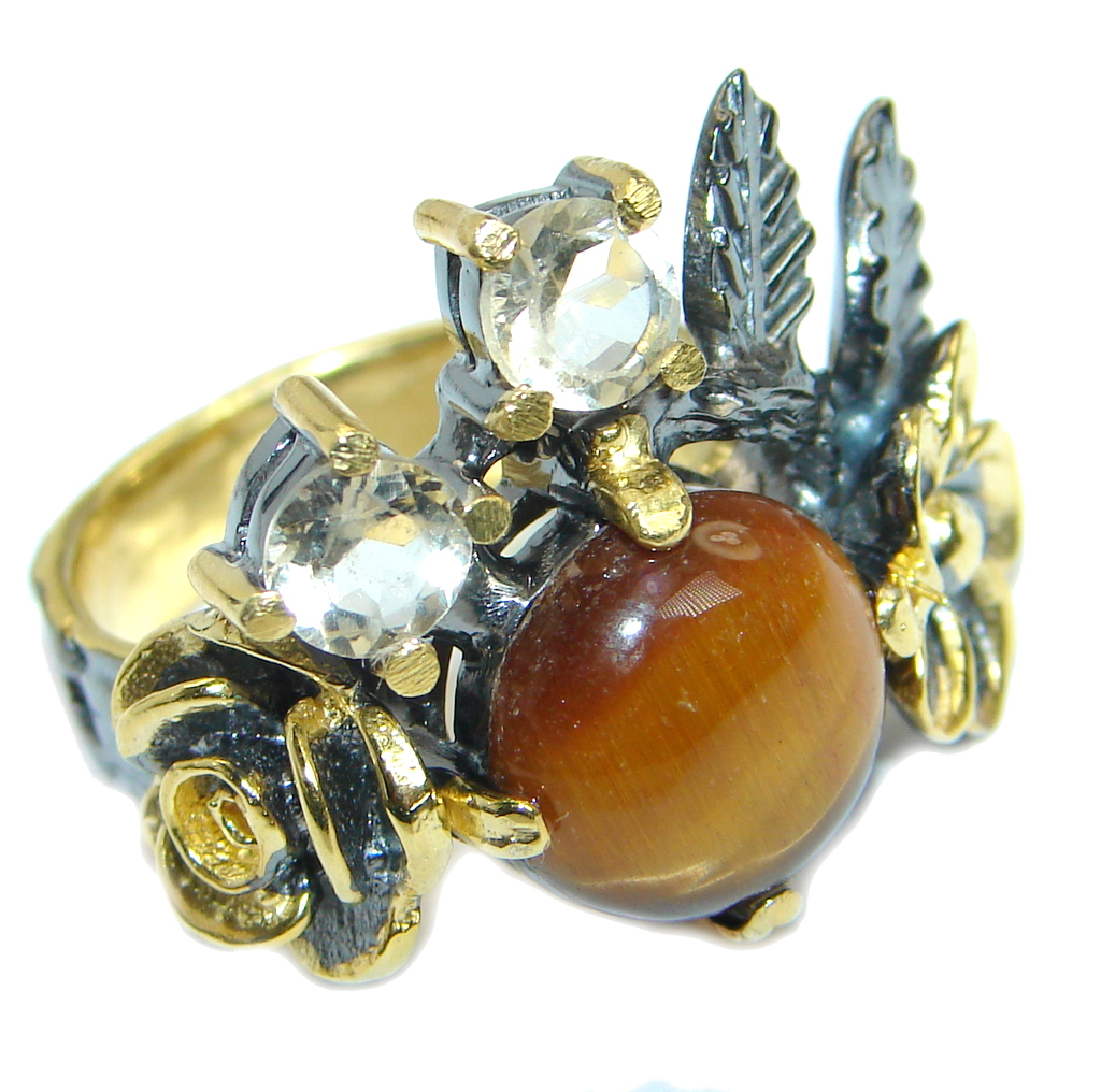 Golden Tigers Eye  Rose Gold plated over .925 Sterling Silver ring s. 6