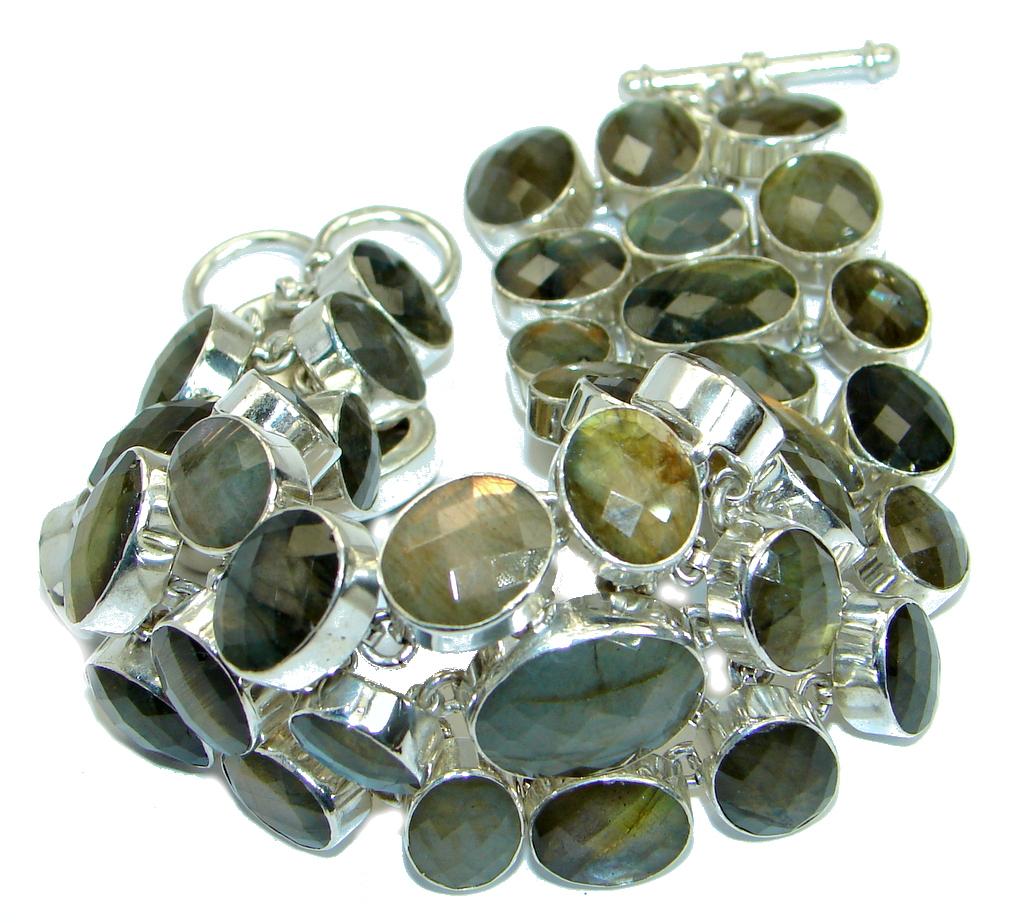 Large Cascade of light GENUINE Labradorite .925 Sterling Silver handmade Bracelet