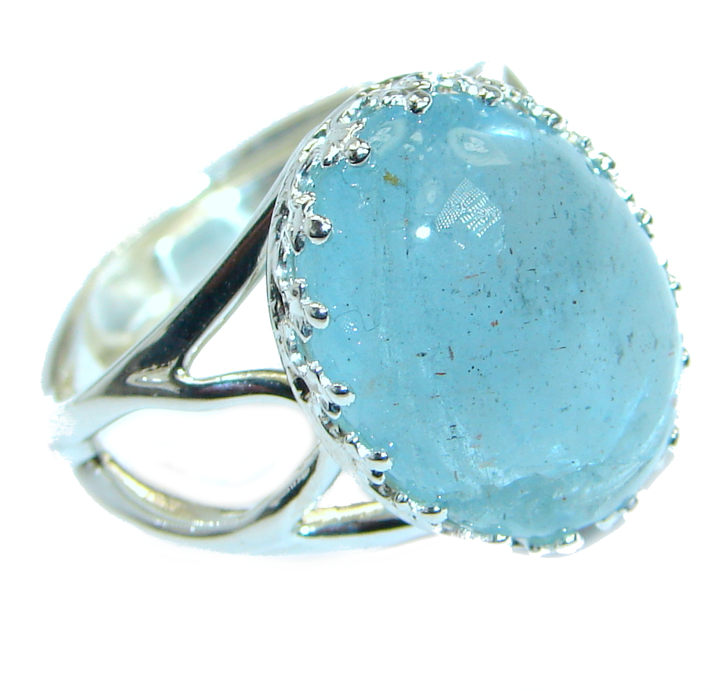 Passiom Fruit Natural Aquamarine 10 ct. Sterling Silver Ring s. 7 adjustable 121950