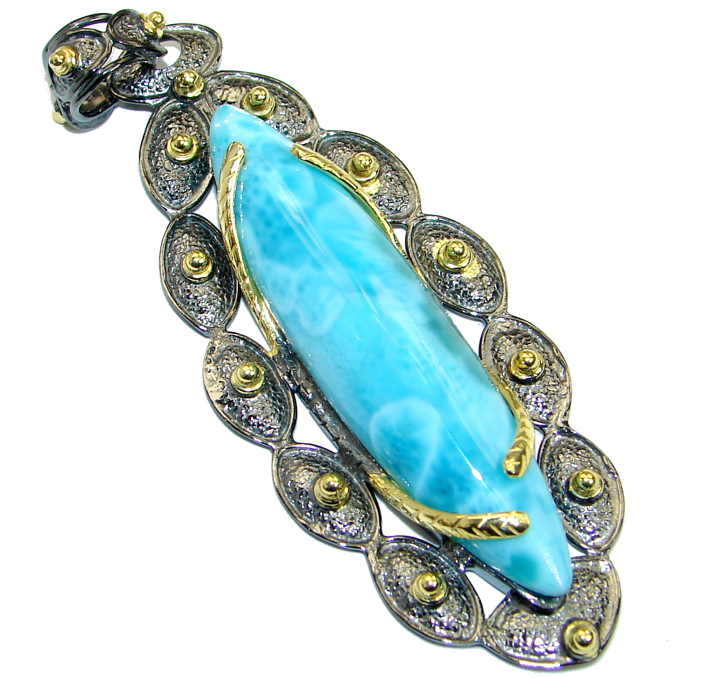 One of the kind Sublime Larimar Gold Rhodium plated over .925 Sterling Silver handmade pendant