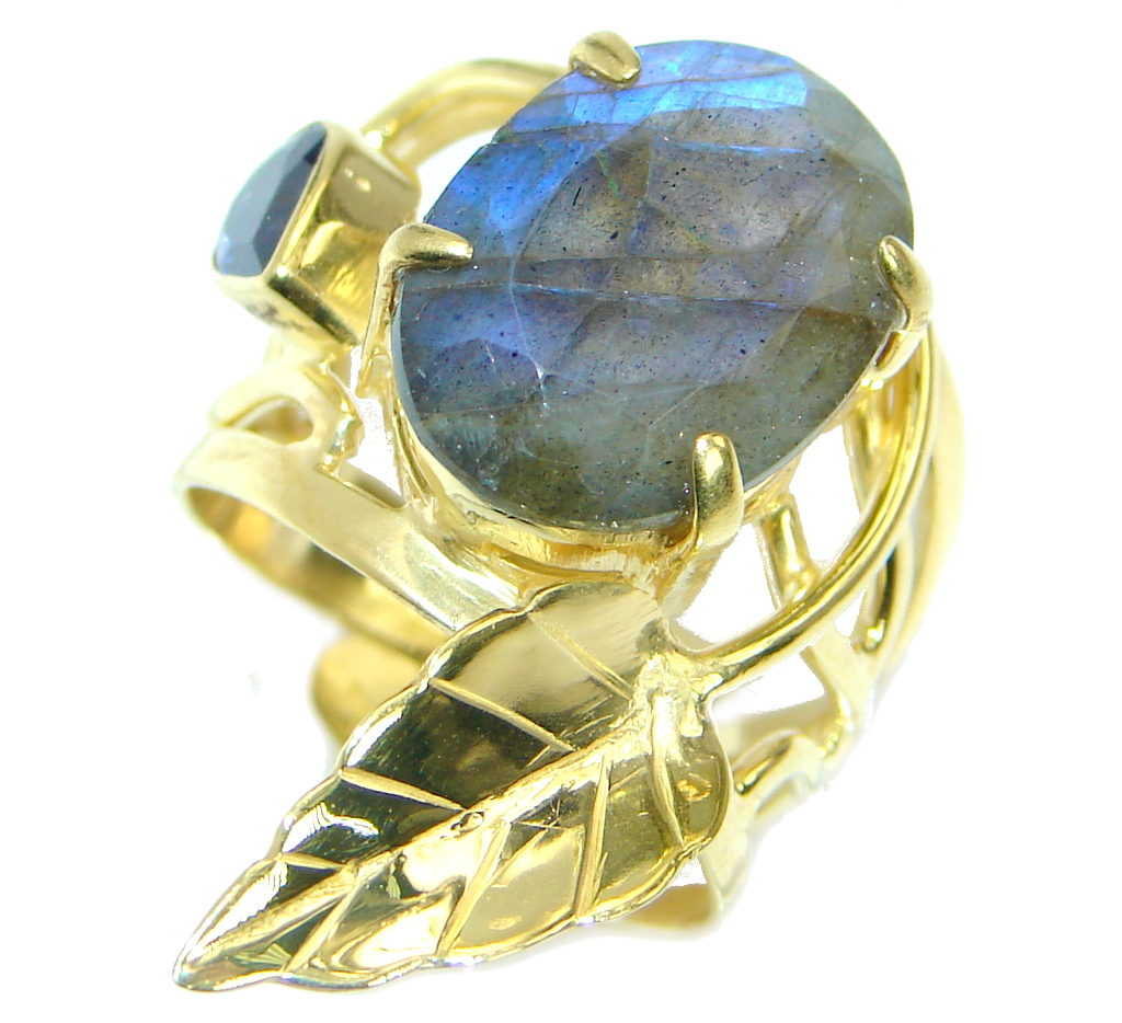Blue Fire Labradorite Gold plated over .925 Sterling Silver handmade ring size 7 adjustable