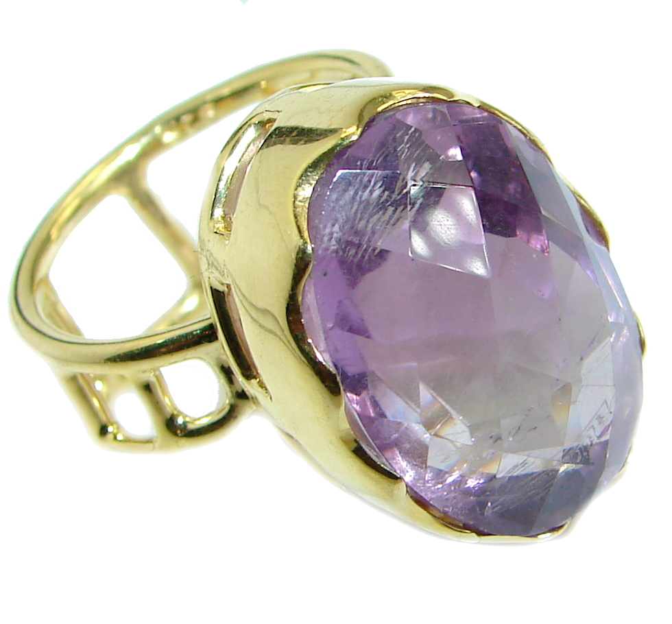Genuine Amethyst  Gold plated over .925 Sterling Silver Ring size 7 adjustable