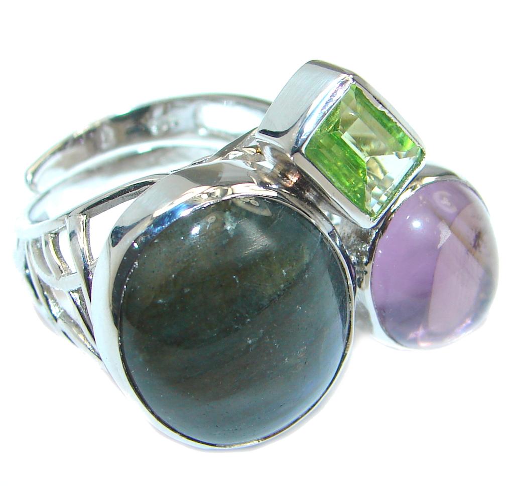 Blue Fire Labradorite Sterling Silver handmade ring size 6 adjustable