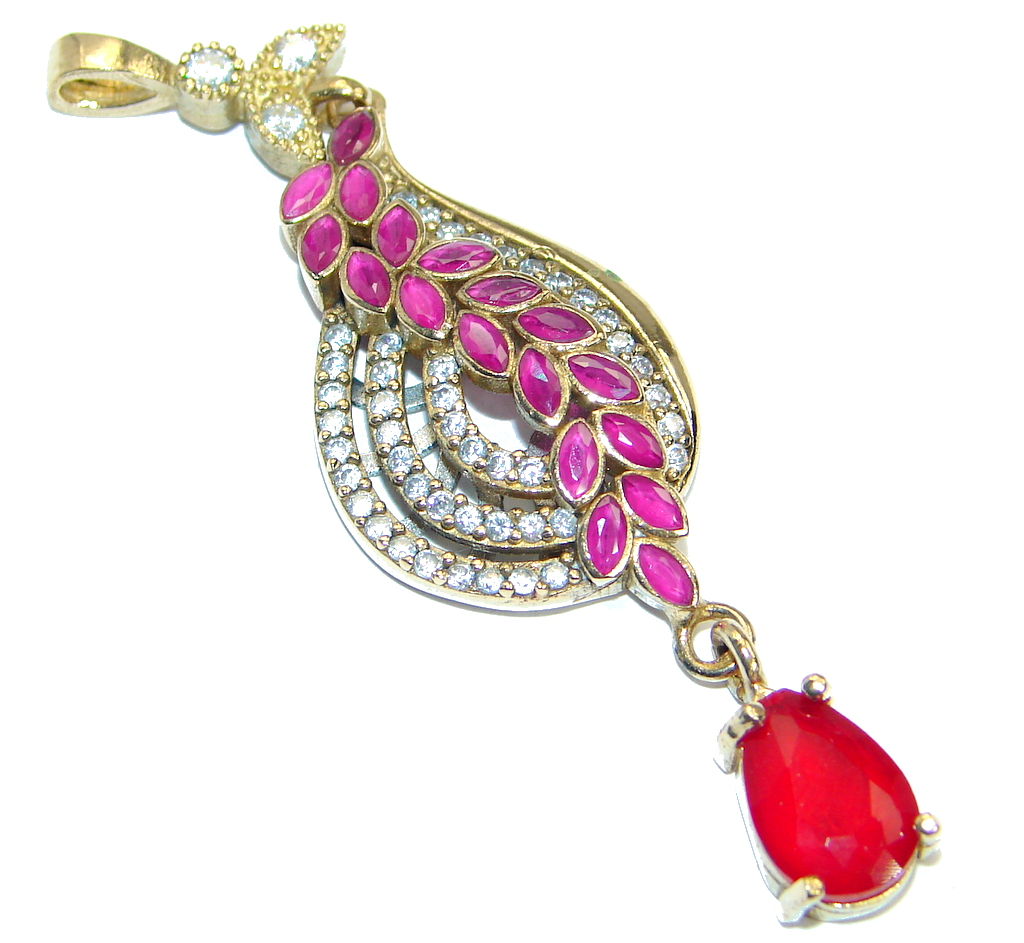 Long Victorian Vintage Style created Ruby Two tones .925 Sterling Silver Pendant