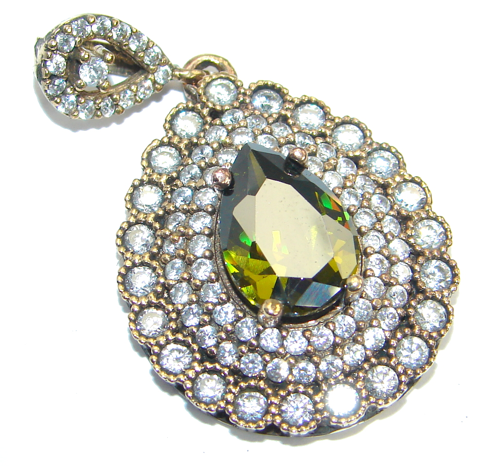 Victorian Style Created Emerald  & White Topaz Sterling Silver Pendant