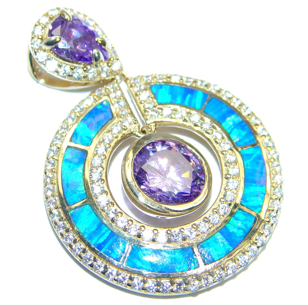 Precious Japanese  Fire Opal Gold plated over .925 Sterling Silver handmade ..