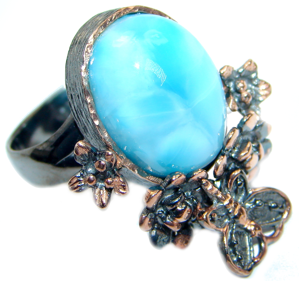 Genuine Larimar Rose Gold plated over .925 Sterling Silver Ring s. 7