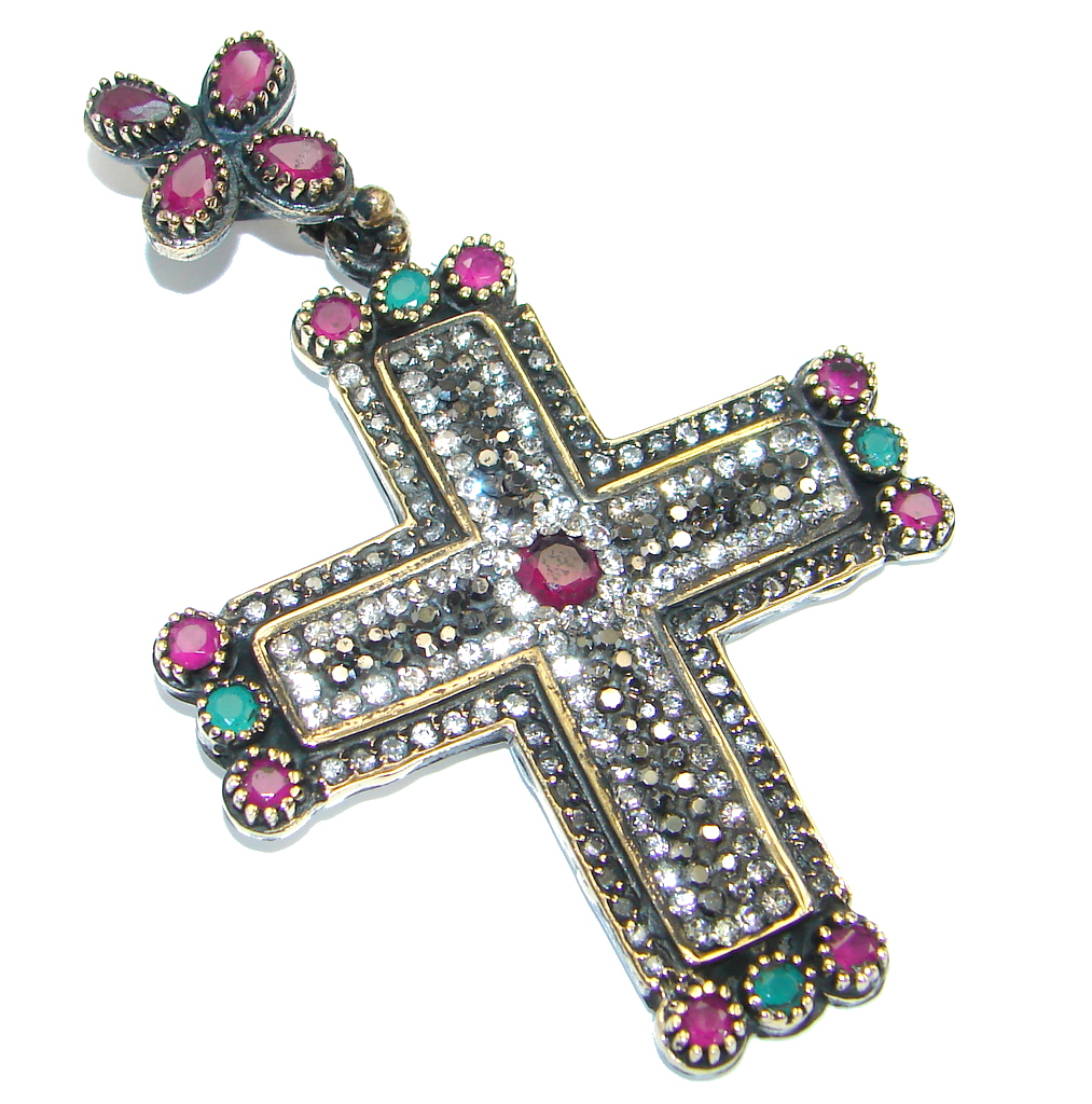 Victorian Style created Pink Ruby .925 Sterling Silver Pendant / Cross