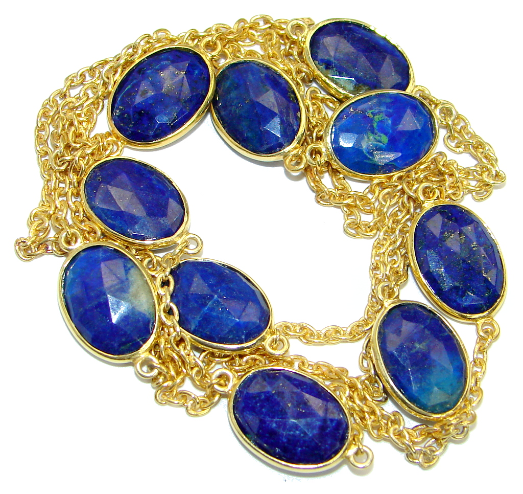 36 inches genuine Lapis Lazuli Gold plated over .925 Sterling Silver Necklace