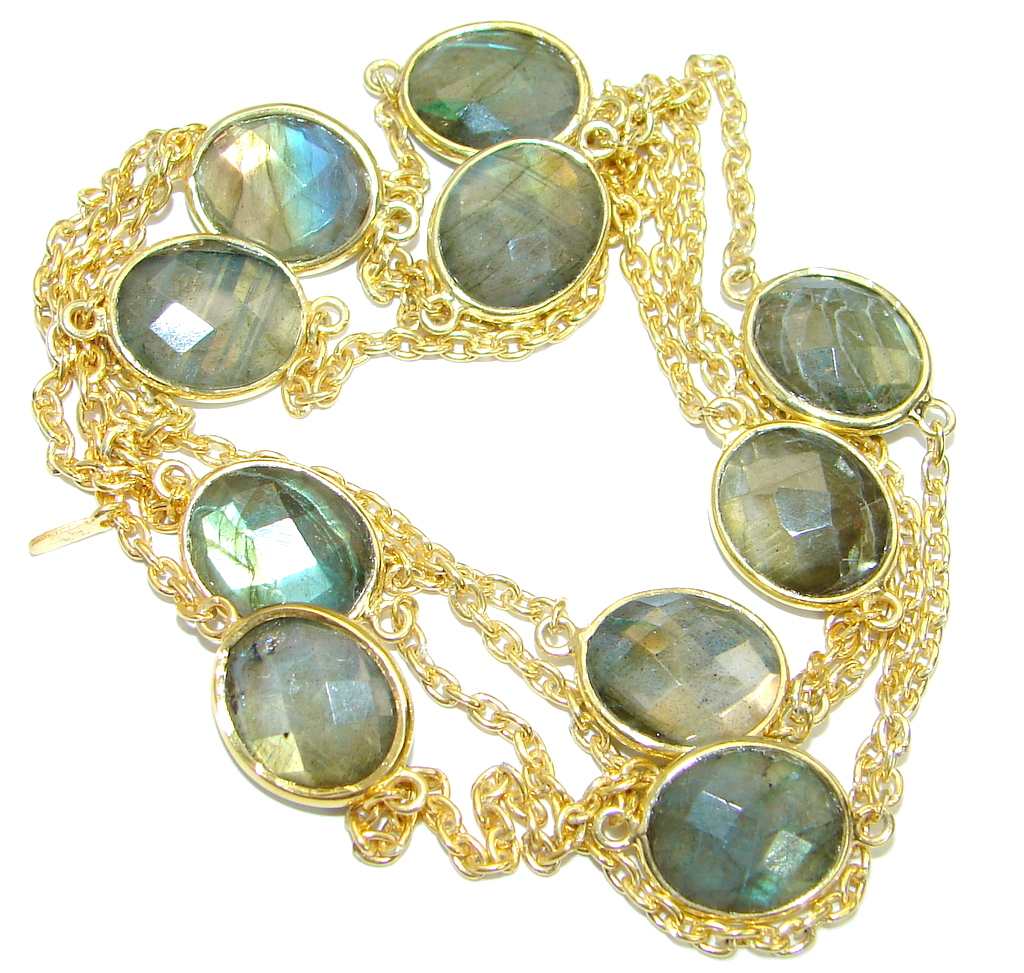 36 inches Genuine Fire Labradorite Gold over .925 Sterling Silver handmade Necklace