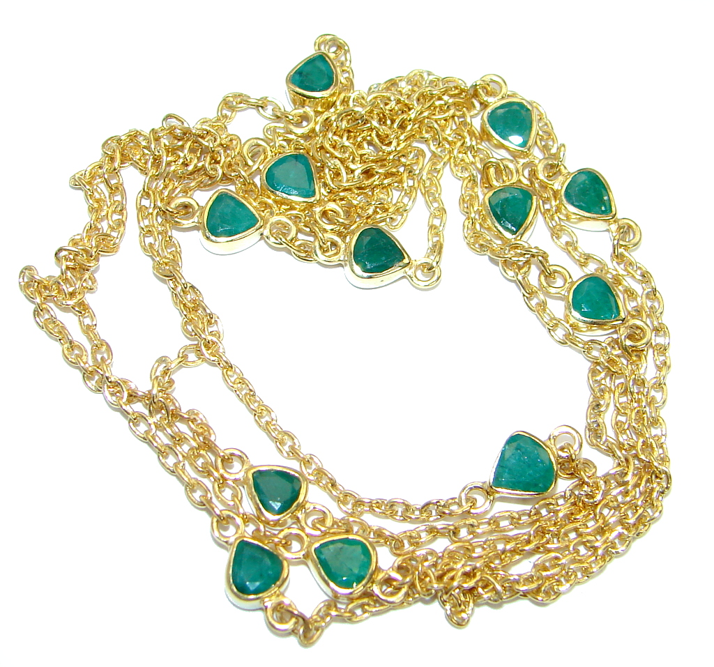 36 inches genuine Emerald Gold plated over .925 Sterling Silver handmade Necklace
