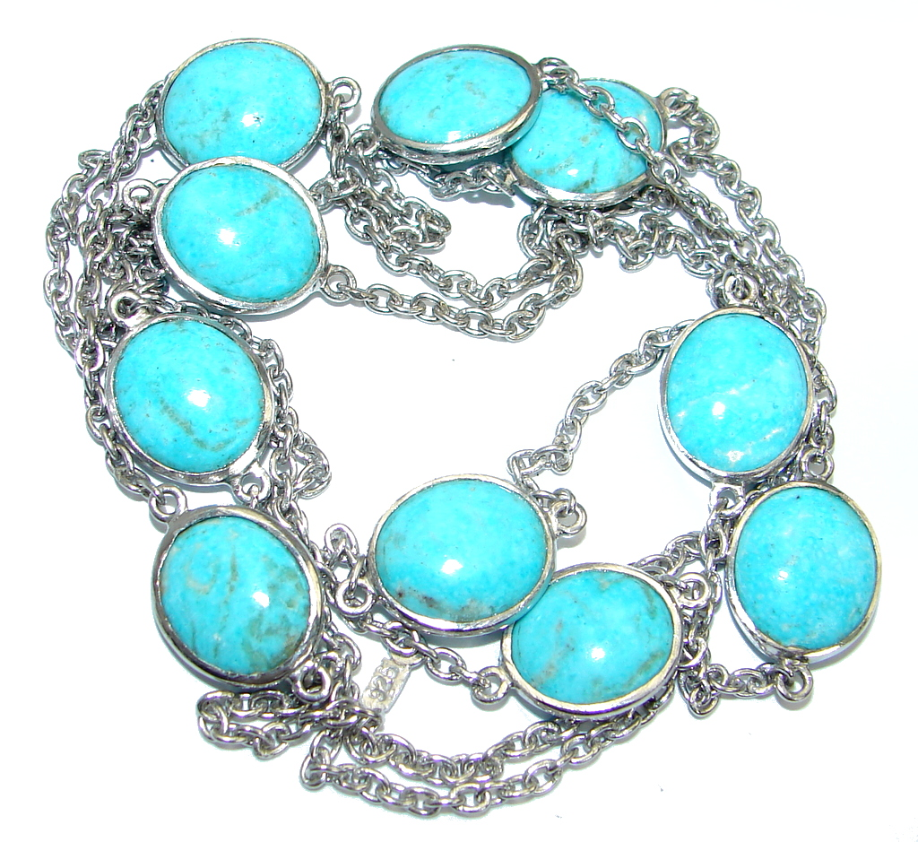 36 inches Genuine Arizona Turquoise Stones .925 Sterling Silver handmade Necklace