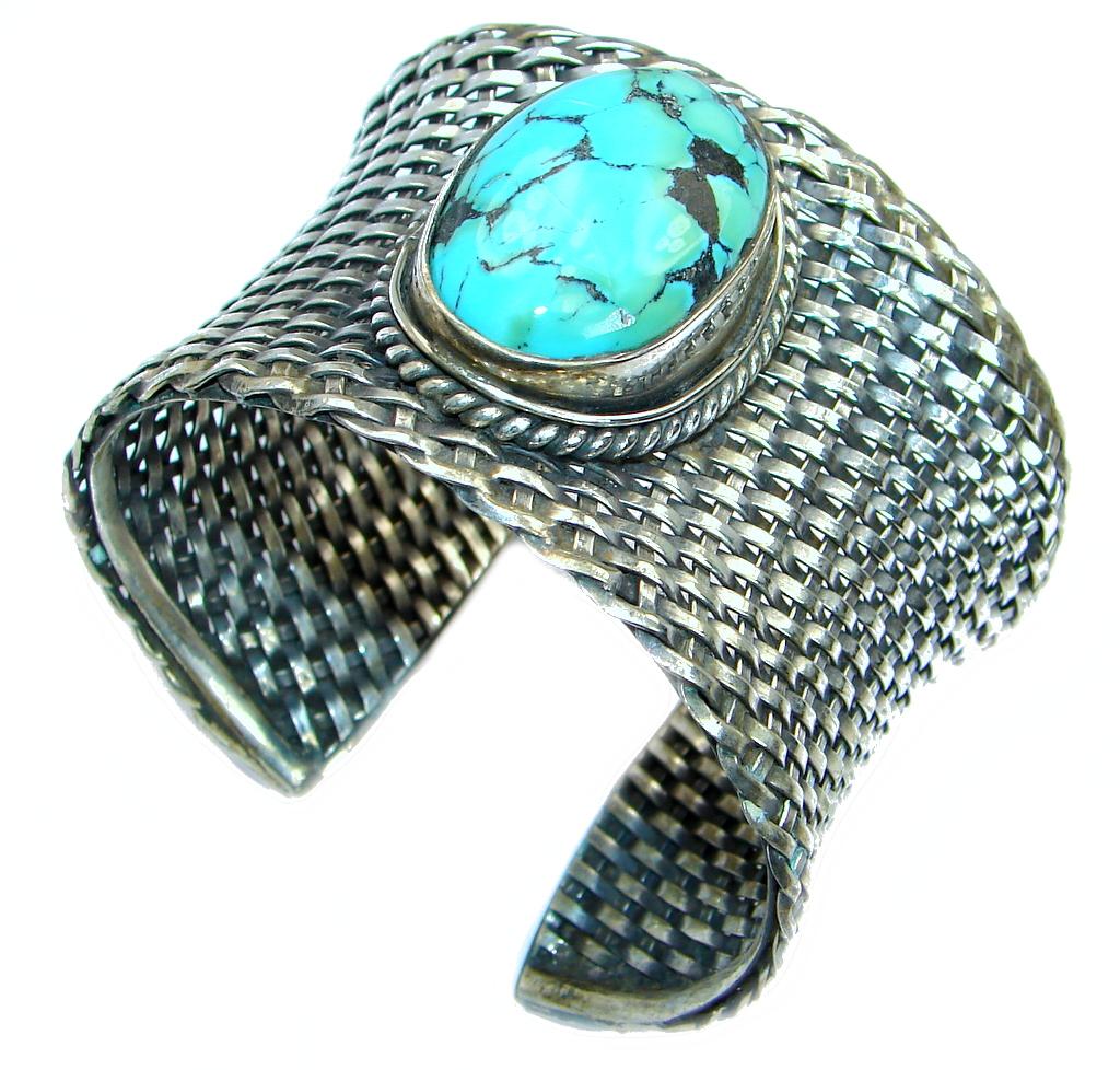 Jumbo Boho Chic  Genuine  Turquoise Coral  Sterling Silver handmade Bracelet..