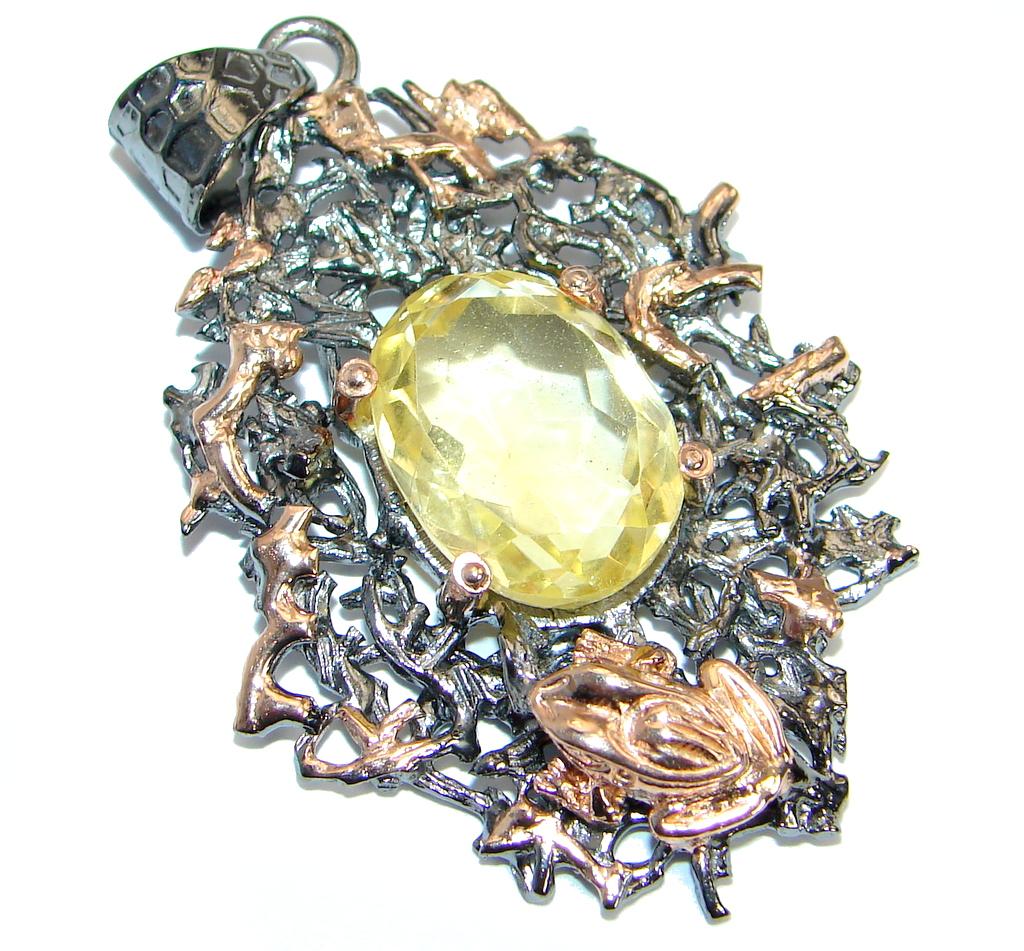 Golden Pound Genuine  Citrine  Rose gold over .925 Sterling Silver handcraft..