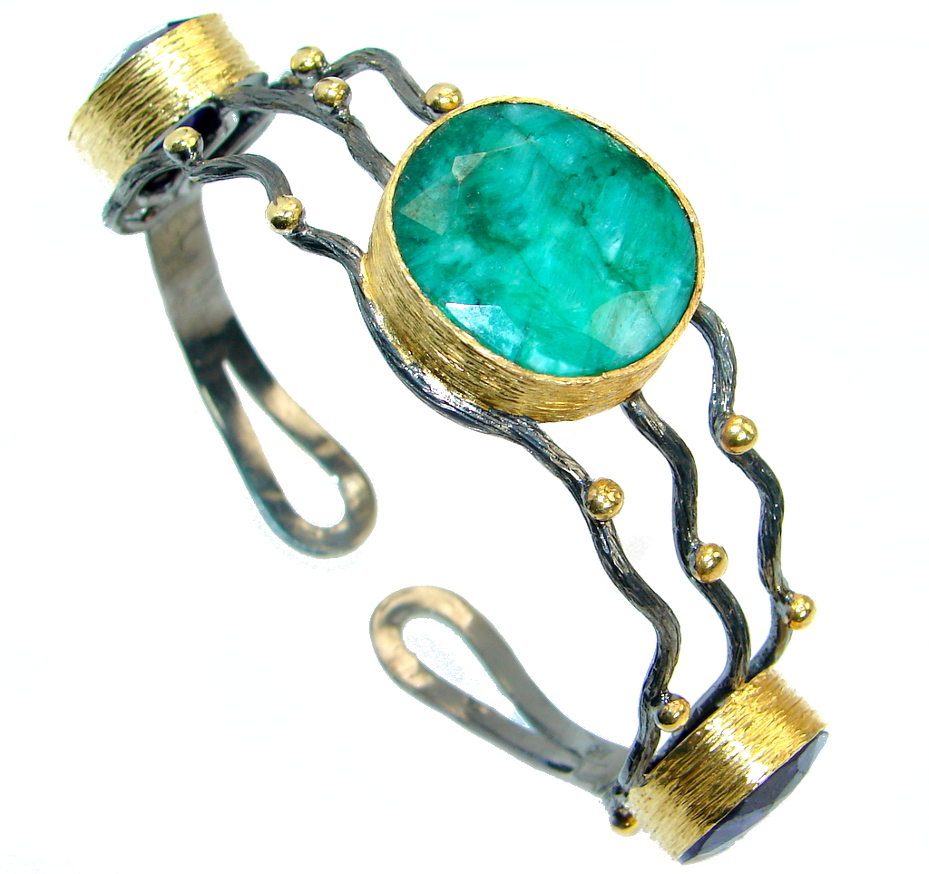 One in the World Natural Sapphire Emerald Gold over .925 Sterling Silver Bracelet / Cuff