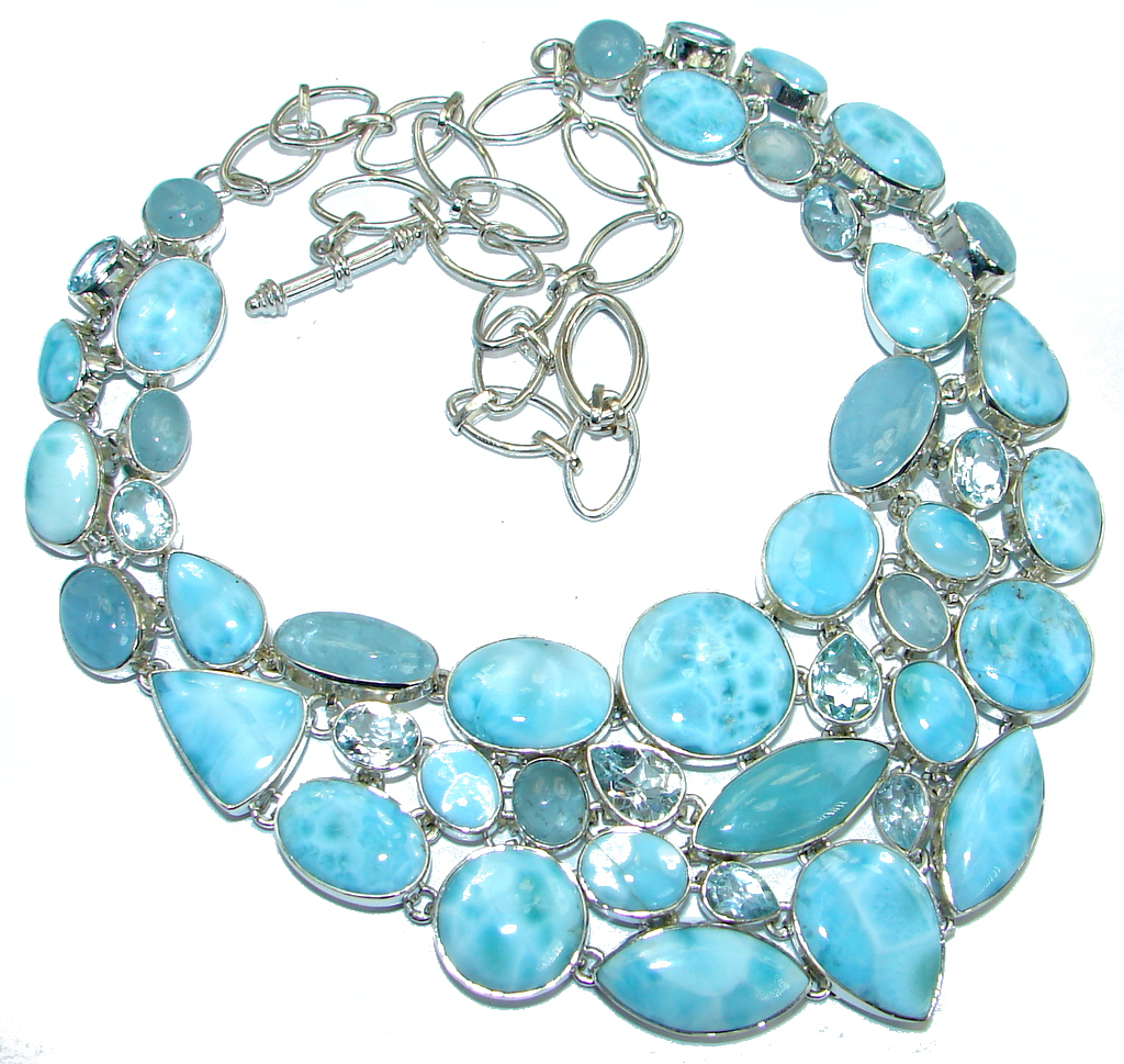 Chunky Larimar Swiss Blue Topaz Aquamarine .925 Sterling Silver handcrafted necklace