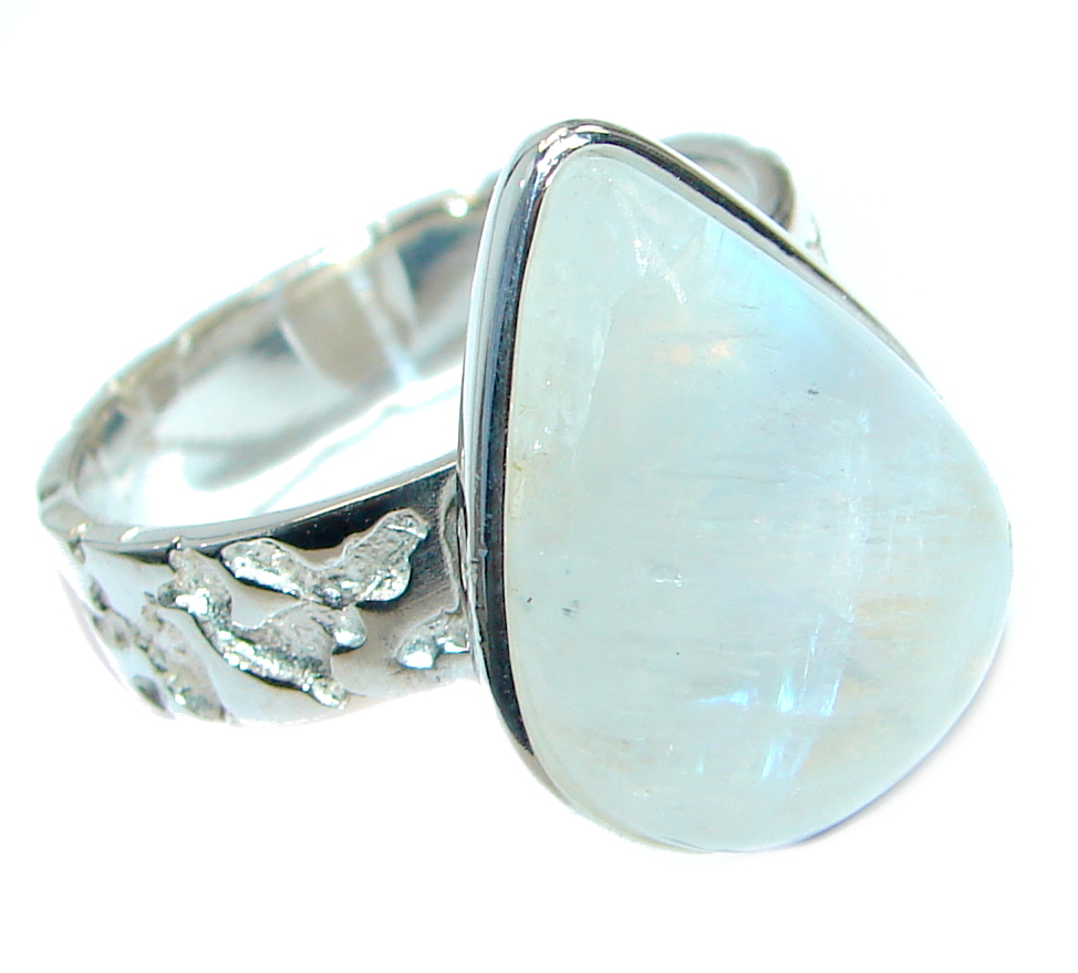 Simle Style Perfect Moonstone .925 Sterling Silver handmade Ring s. 8 1/4