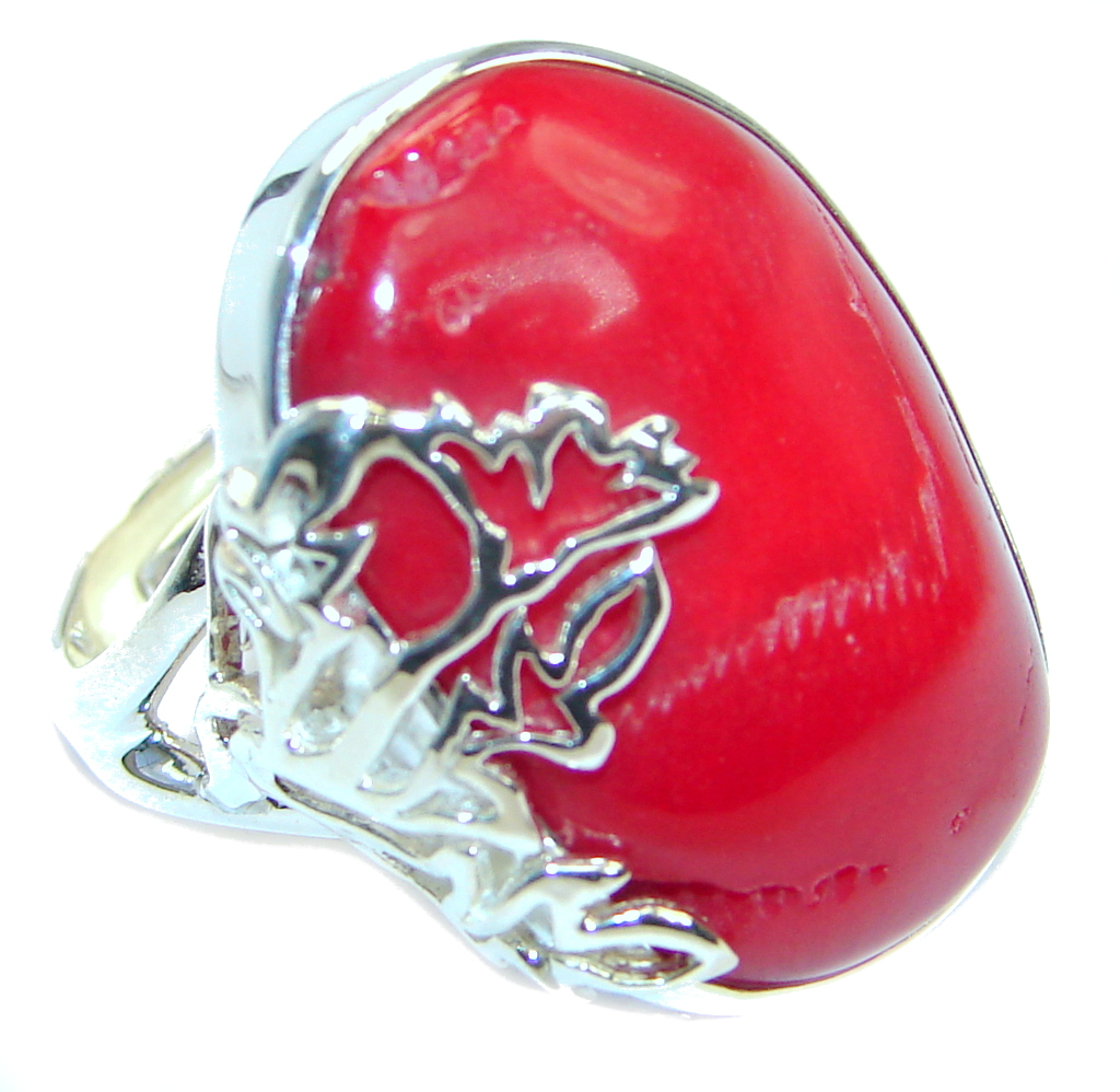 Gorgeous natural  Fossilized Coral Sterling Silver handmade ring s. 7 adjust..