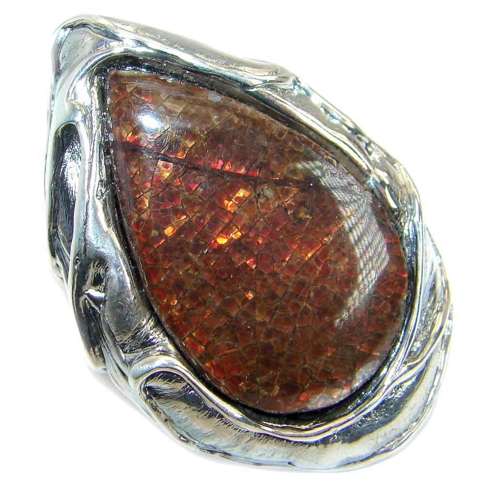 Huge Fire Genuine Canadian Ammolite .925 Sterling Silver handmade ring size 7 adjustable
