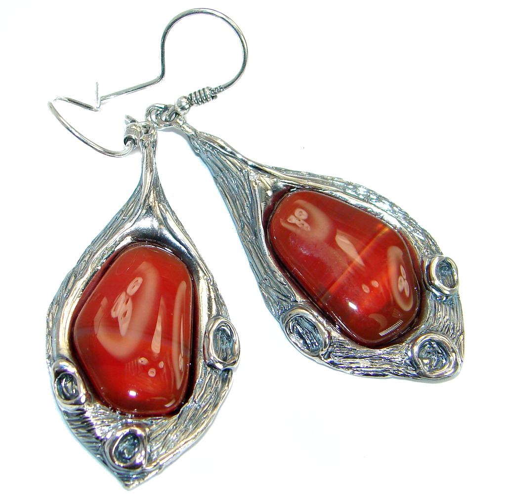 Long Botswana Agate oxidized .925Sterling Silver handmade earrings
