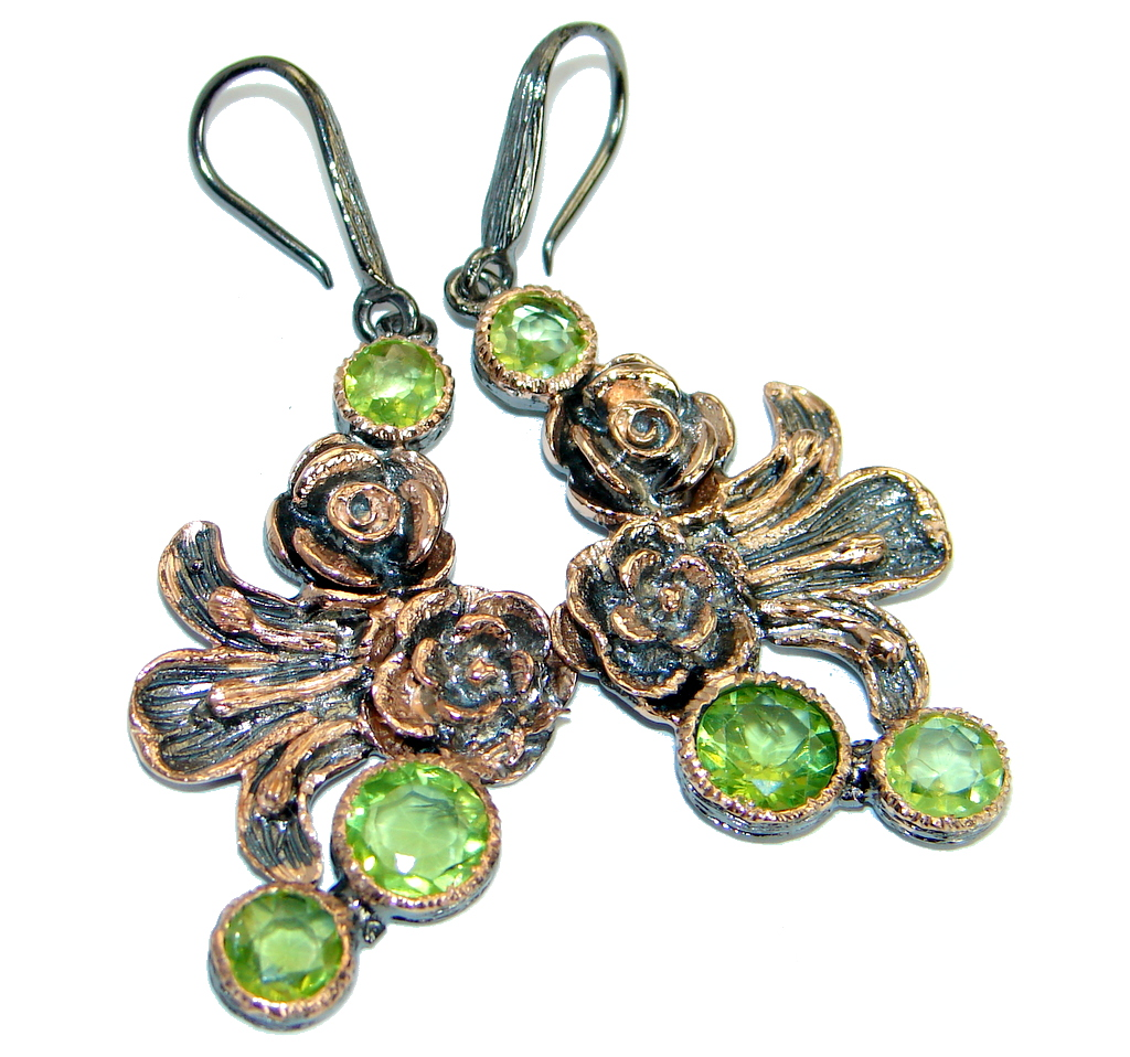 Floral Design Genuine Peridot Rose Gold plated over .925 Sterling Silver handamde earrings