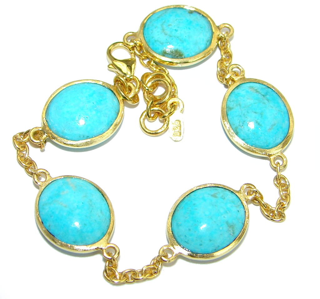 Arizona Turquoise Gold over .925 Sterling Silver handmade Bracelet